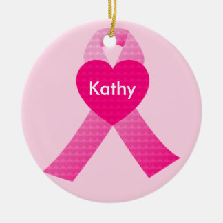 Personalized Pink Hearts Ribbon Breast Cancer Ceramic Ornament