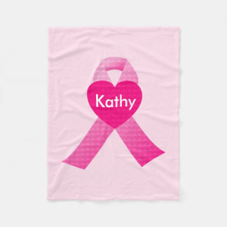 Personalized Pink Hearts Ribbon Breast Cancer Fleece Blanket