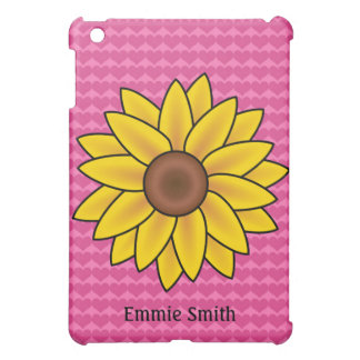 Personalized Pink Hearts Sunflower iPad Mini Case