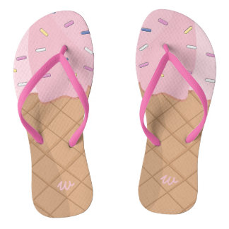 Personalized Pink Ice Cream Cone Summer Flip Flops