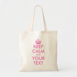 Personalized pink keep calm and your text tote bag