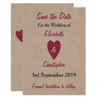 Personalized pink kraft Wedding Save the Date Card