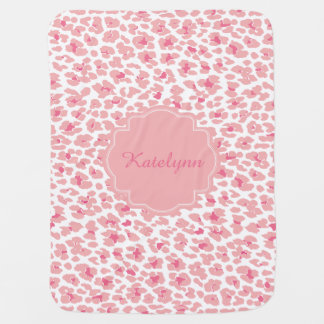 Personalized Pink Leopard Print Baby Blanket