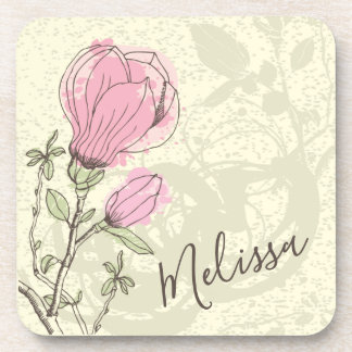 Personalized Pink Magnolia Bloom | Coaster