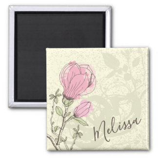 Personalized Pink Magnolia Bloom | Magnet