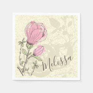 Personalized Pink Magnolia Bloom   Napkin Paper Napkin