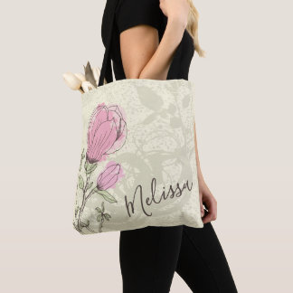 Personalized Pink Magnolia Bloom Tote Bag