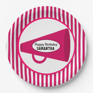 Personalized Pink Megaphone And Pink Stripes Paper Plate
