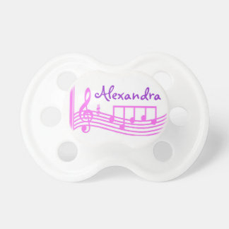 Personalized Pink Music Notes Treble Clef  Binky Dummy