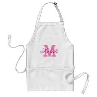 Personalized pink name monogram apron for women