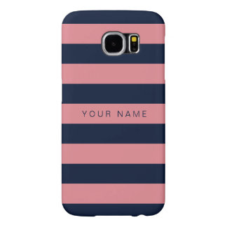 Personalized Pink & Navy Blue Striped