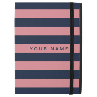 """Personalized Pink & Navy Blue Striped iPad Pro 12.9"""" Case"""