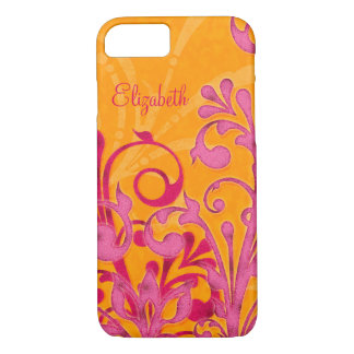 Personalized Pink Orange Floral iPhone iPhone 7 Case