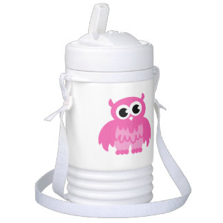 Personalized pink owl beverage cooler for kids