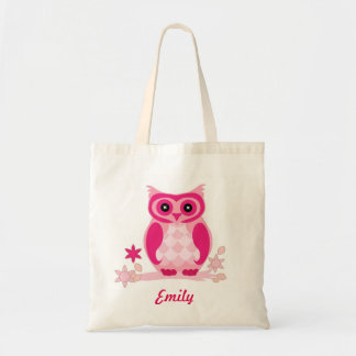 Personalized Pink Owl kids Tote Bag