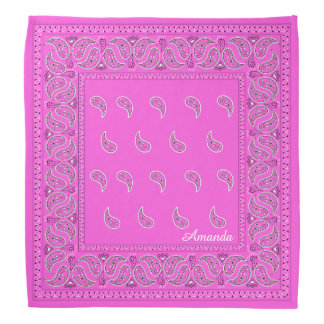 Personalized pink paisley bandana, edit name bandana