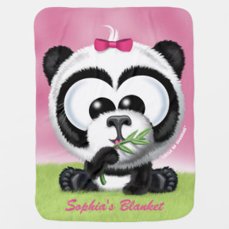 Personalized Pink Panda Baby Blanket
