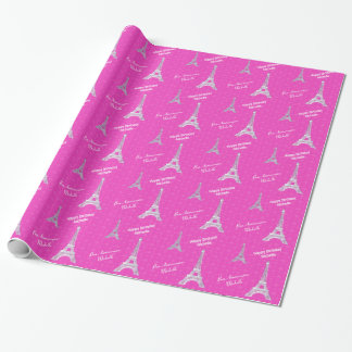 Personalized Pink Paris Eiffel Tower Wrapping Paper
