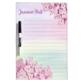 Personalized Pink Pastel Hydrangea Watercolor Dry Erase Board