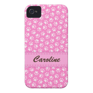 Personalized pink pawprints BlackBerry Bold case