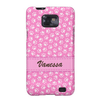 Personalized pink pawprints Samsung Galaxy case