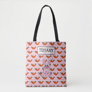 Personalized Pink Plaid Easter Bunny Bag