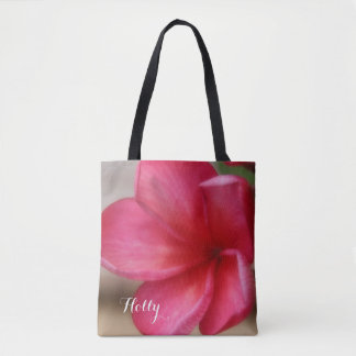 Personalized Pink Plumeria Tote Bag