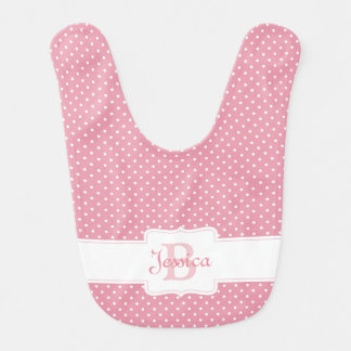 Personalized Pink Polka Dot Baby Bib