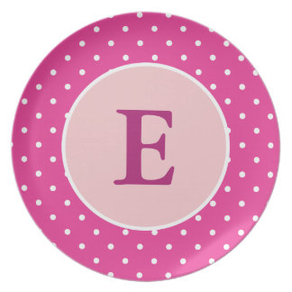 Personalized Pink Polka Dot Plate