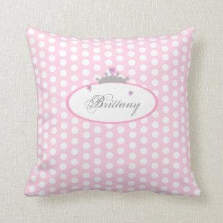 Personalized Pink Polka Dot Princess Pillow Throw Cushion