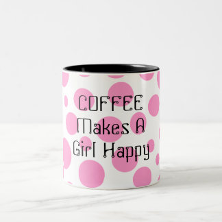 Personalized Pink Polka Dot Two-Toned Coffee Mug