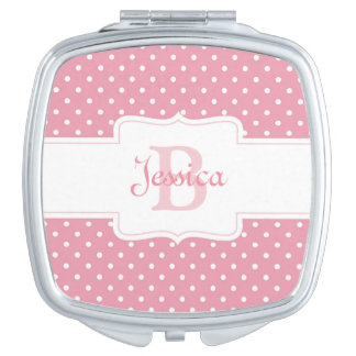 Personalized Pink Polka Dot Vanity Mirrors
