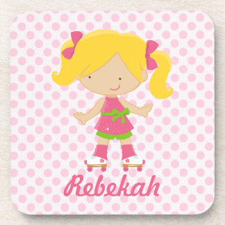 Personalized Pink Polka Dots Blonde Roller Skating Beverage Coasters