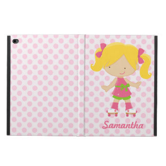 Personalized Pink Polka Dots Blonde Roller Skating Powis iPad Air 2 Case