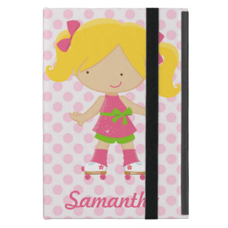 Personalized Pink Polka Dots Blonde Roller Skating Covers For iPad Mini