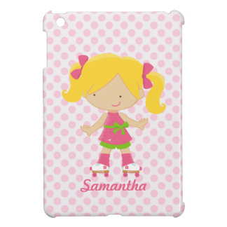 Personalized Pink Polka Dots Blonde Roller Skating Cover For The iPad Mini