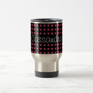 Personalized Pink Polka Dots on Black Background Travel Mug