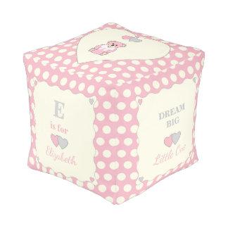 Personalized Pink polka dots teddy bear Pouf