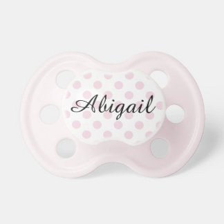 Personalized Pink Polka Dotted Baby Girl Pacifier