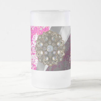 Personalized pink pretty girly damask pattern frosted glass beer mug