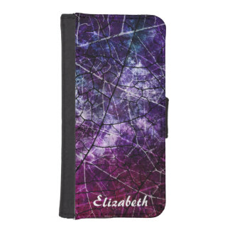 Personalized Pink Purple Crackled Lacquer Texture iPhone SE/5/5s Wallet Case