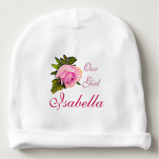 Personalized  Pink Rose bud Name Baby Cap Baby Beanie