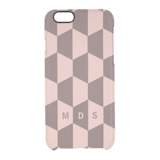 Personalized Pink Rose Trapezoid Geometric Clear iPhone 6/6S Case
