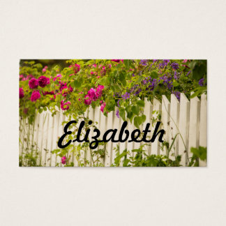 Personalized pink roses on a white garden fence business card