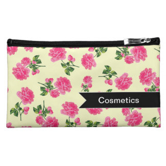 Personalized Pink roses on cream cosmetics bag Cosmetic Bags