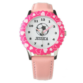 personalized pink soccer ball watch for girls