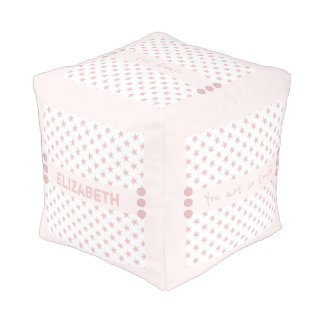 Personalized pink stars baby pouf