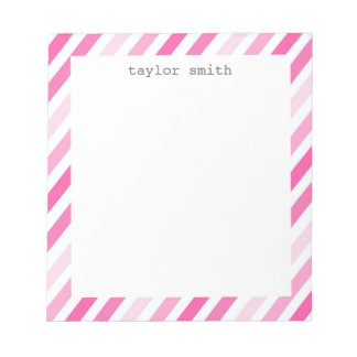 Personalized Pink Stripes Note Pad