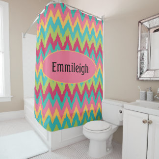 Personalized Pink Teal Green Yellow Chevron Zigzag Shower Curtain