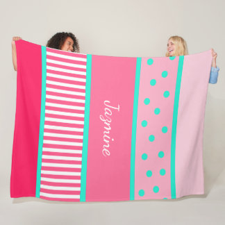 Personalized Pink Teal Polka Dots Stripes Blanket